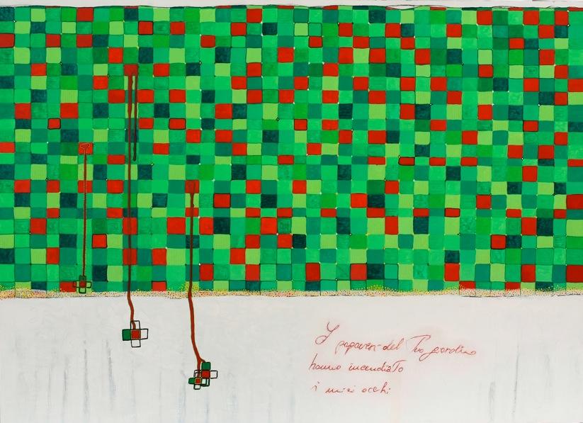 I papaveri del tuo giardino-acrilico su multistrato- 2012-cm80 x 110