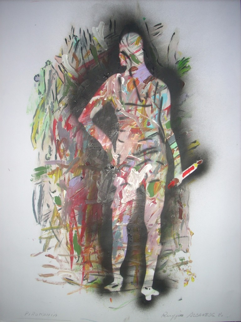 Ruggero Albanese, Piromania 1980 Acrilico su carta, cm. 50x70