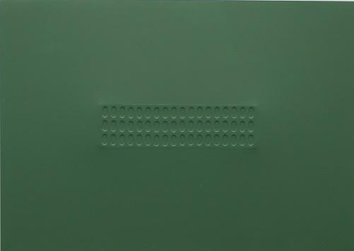 TURI SIMETI, Superficie verde con ovali, acrilico su tela sagomata (1966), LGT