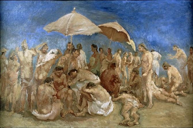 Pirandello, Spiaggia affollata, olio su tavola (1939 ca), LGT