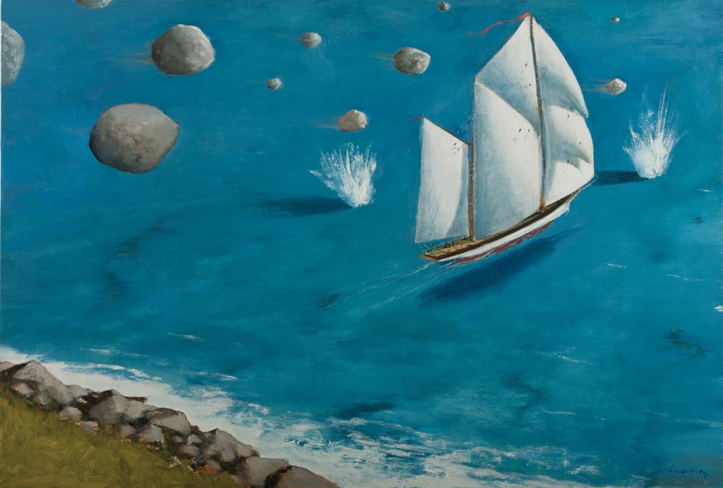 JULIO LARRAZ, Polyphemus Wrath, olio su tela 2012, (127x152cm)